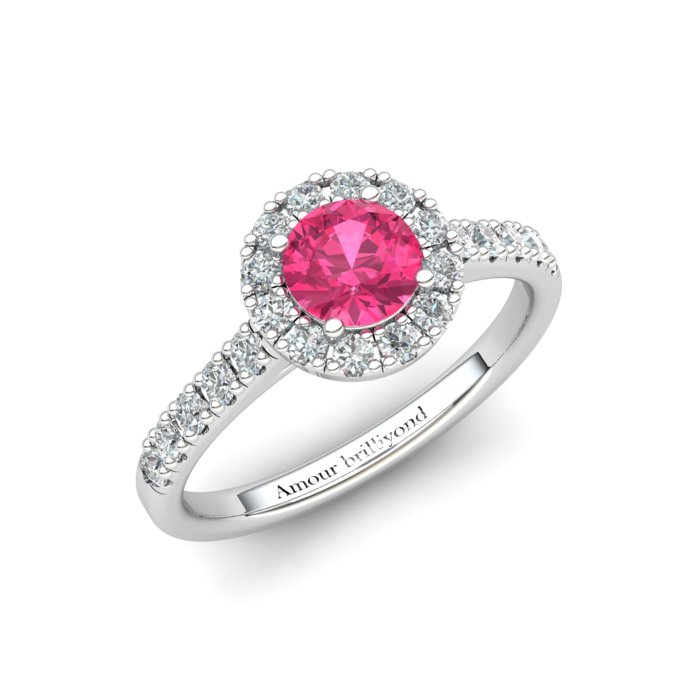 Sapphire Engagement Ring 5mm Round Pink Sapphire in White Gold with White Cluster Stones_image1