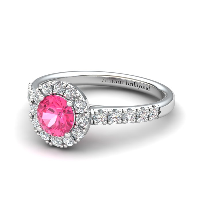 Sapphire Engagement Ring 5mm Round Pink Sapphire in White Gold with White Cluster Stones_image2