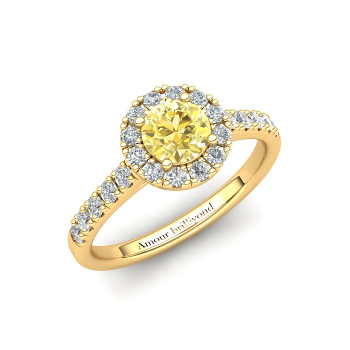 Sapphire Engagement Ring 5mm Round Yellow Sapphire in Yellow Gold with White Cluster Stones_image1