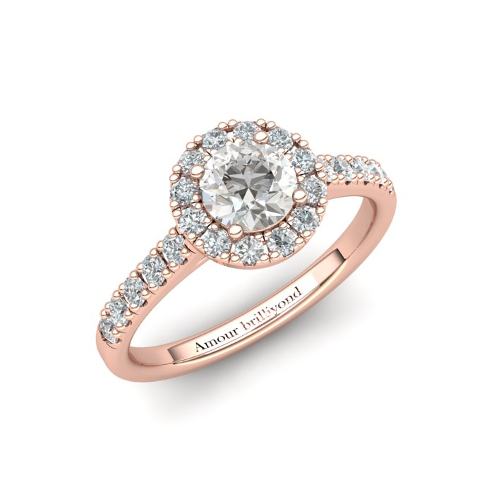 Sapphire Engagement Ring 5mm Round White Sapphire in Rose Gold with White Cluster Stones_image1