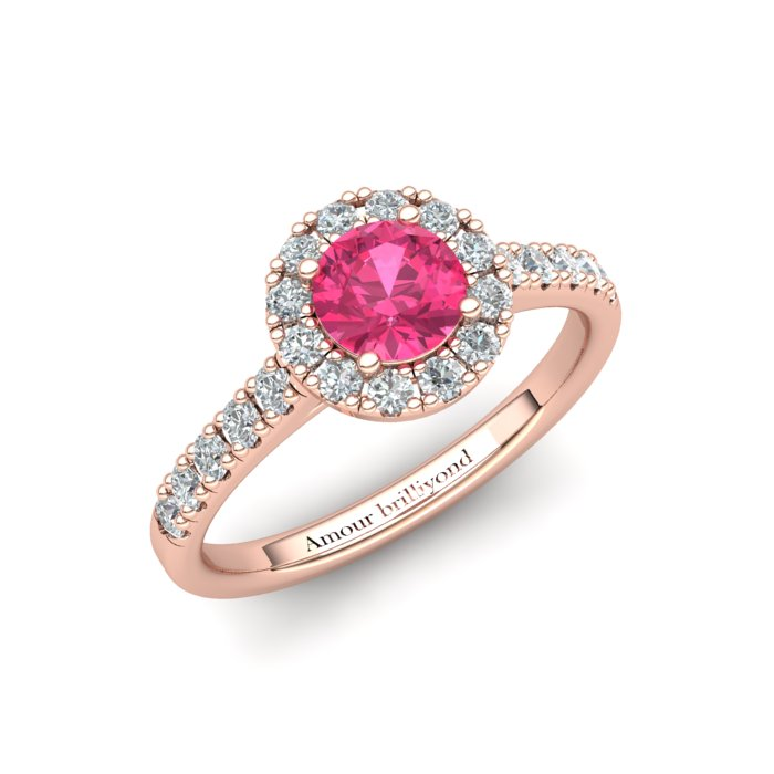 Sapphire Engagement Ring 5mm Round Pink Sapphire in Rose Gold with White Cluster Stones