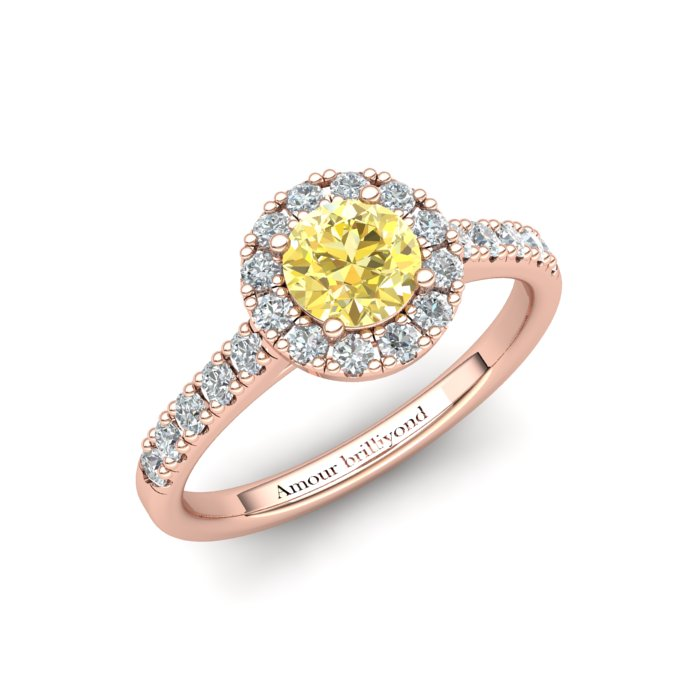 Sapphire Engagement Ring 5mm Round Yellow Sapphire in Rose Gold with White Cluster Stones_image1