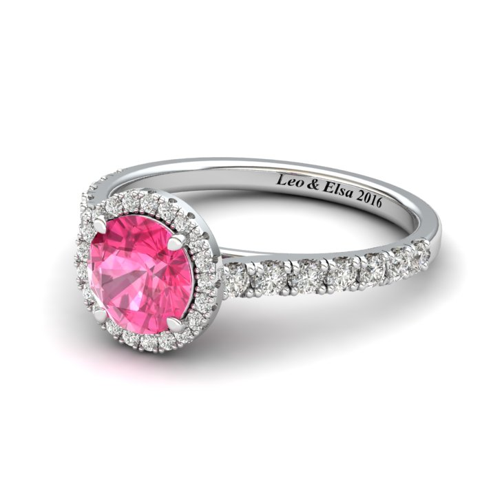 6mm Customisable Sapphire Halo Engagement Ring_image1
