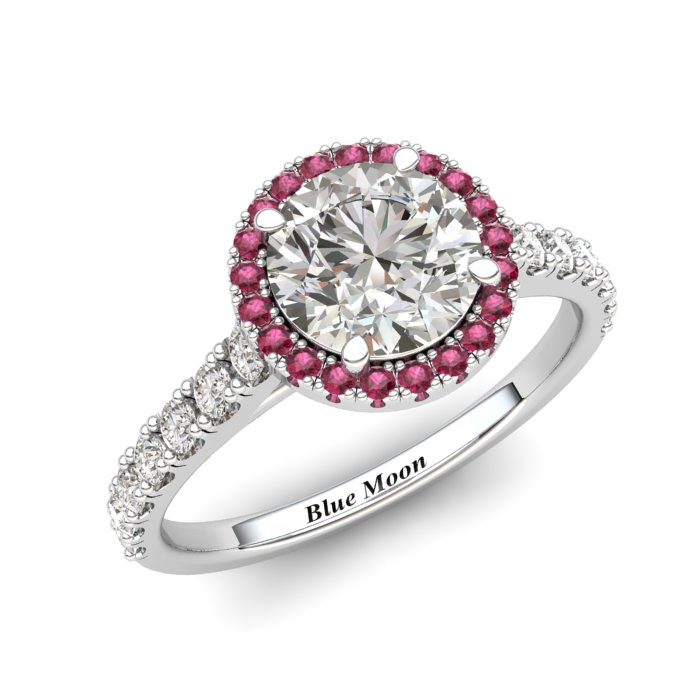 Sapphire Engagement Ring 6mm Round White Sapphire in White Gold with Pink Cluster Stones