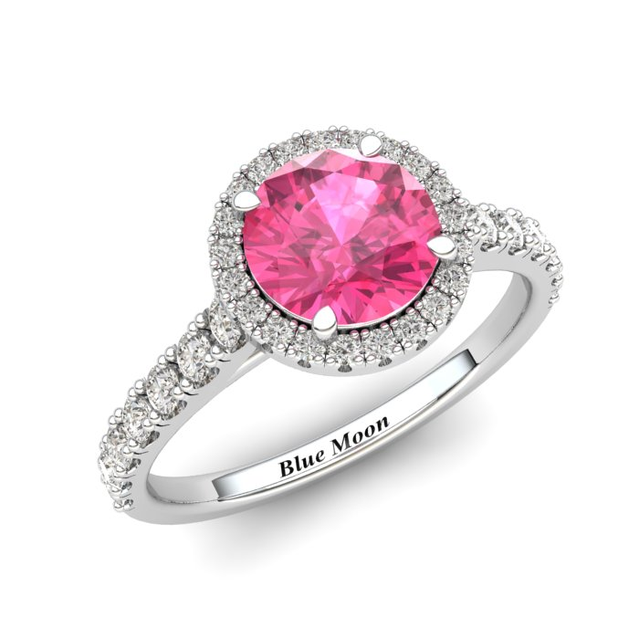 Sapphire Engagement Ring 6mm Round Pink Sapphire in White Gold with White Cluster Stones_image1