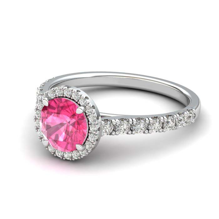 Sapphire Engagement Ring 6mm Round Pink Sapphire in White Gold with White Cluster Stones_image2