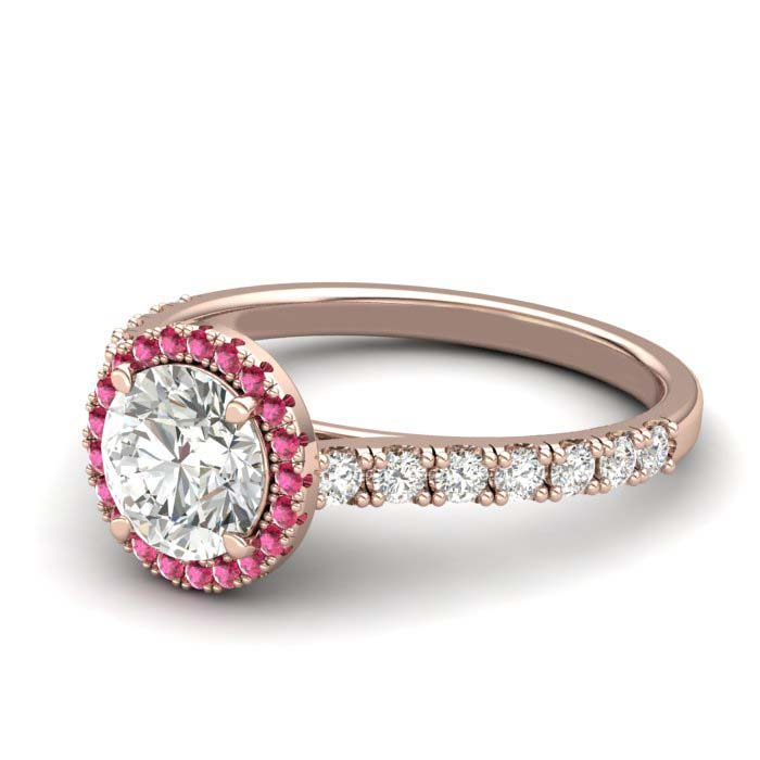 Sapphire Engagement Ring 6mm Round White Sapphire in Rose Gold with Pink Cluster Stones_image1