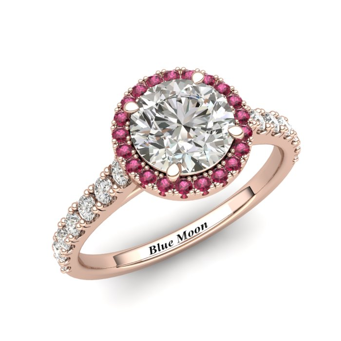 Sapphire Engagement Ring 6mm Round White Sapphire in Rose Gold with Pink Cluster Stones_image2