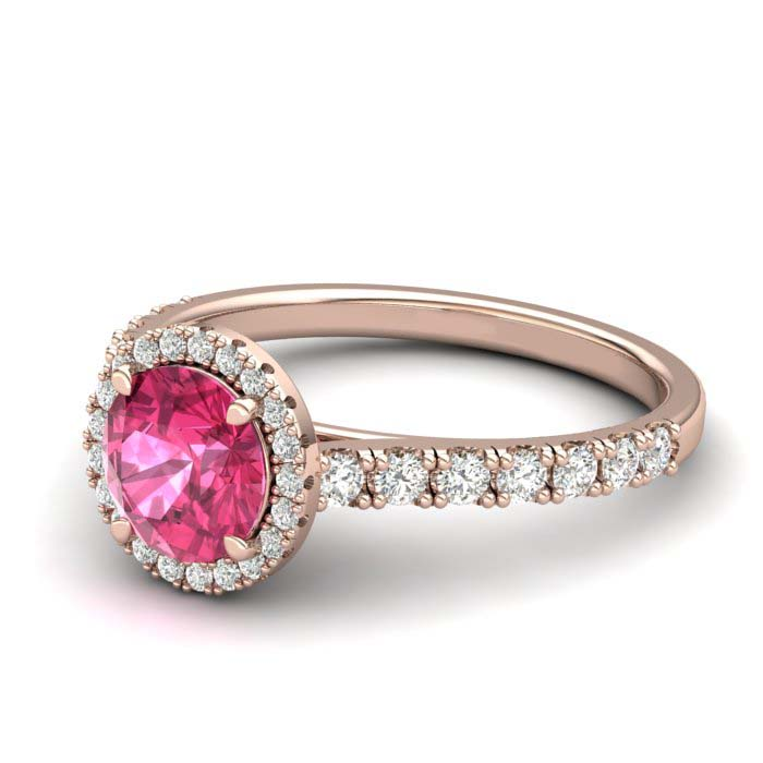 Sapphire Engagement Ring 6mm Round Pink Sapphire in Rose Gold with White Cluster Stones_image1