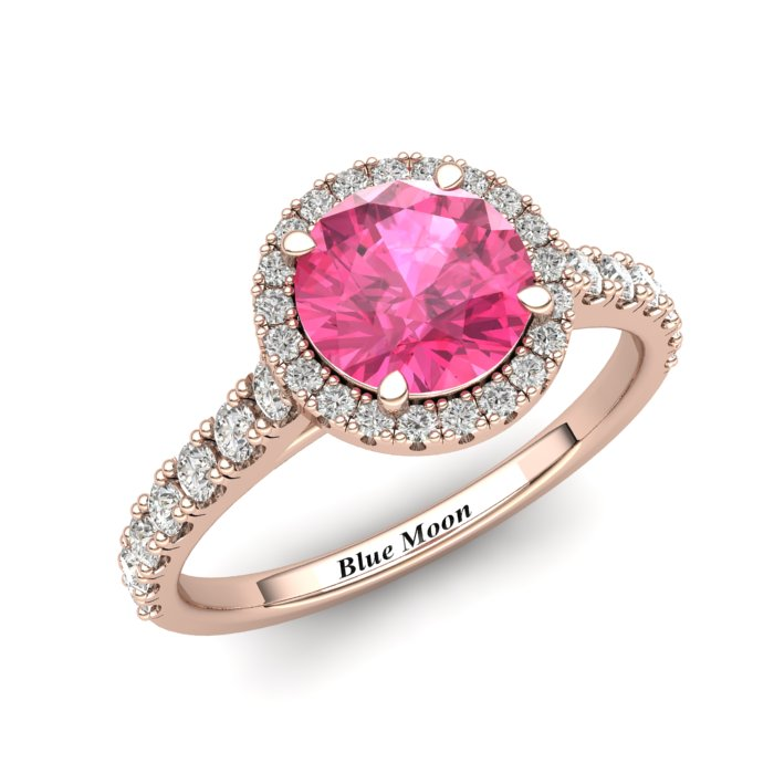Sapphire Engagement Ring 6mm Round Pink Sapphire in Rose Gold with White Cluster Stones_image2