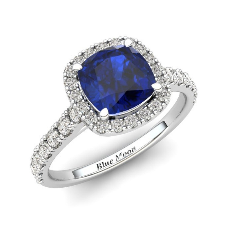Sapphire Engagement Ring 6mm Cushion Cut Blue Sapphire in White Gold_image1