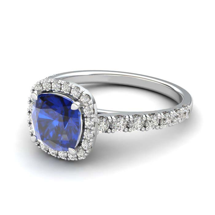 Sapphire Engagement Ring 6mm Cushion Cut Blue Sapphire in White Gold_image2