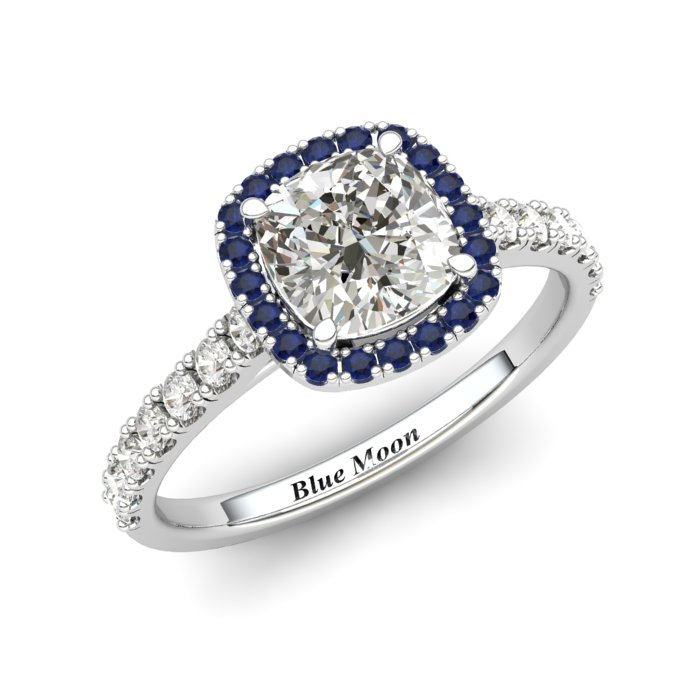 Sapphire Engagement Ring 6mm Cushion Cut White Sapphire in White Gold with Blue Cluster Stones_image1