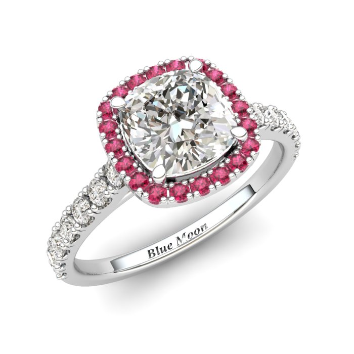 Sapphire Engagement Ring 6mm Cushion Cut White Sapphire in White Gold with Pink Cluster Stones_image1