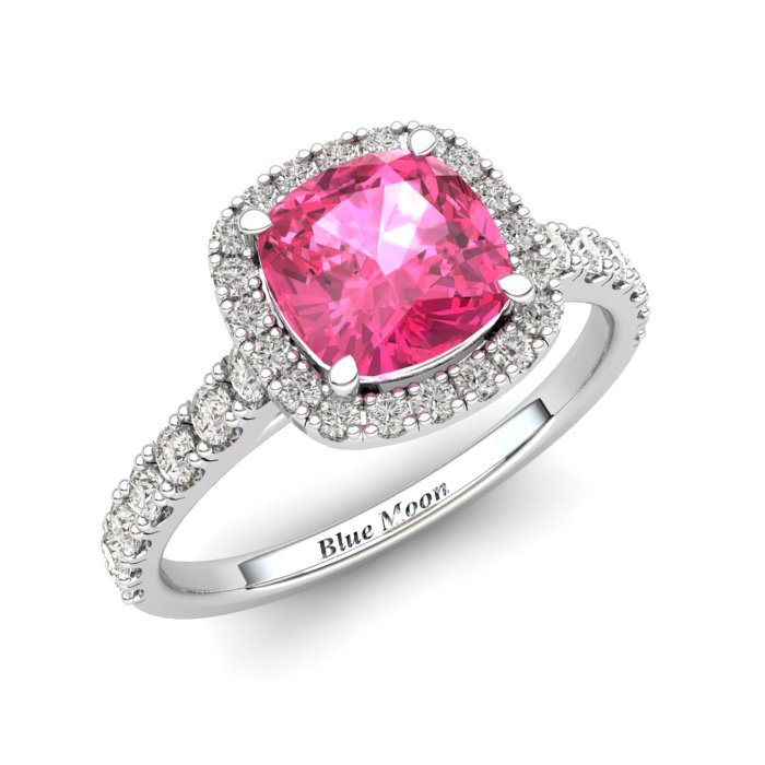 Sapphire Engagement Ring 6mm Cushion Cut Pink Sapphire in White Gold with White Cluster Stones_image1