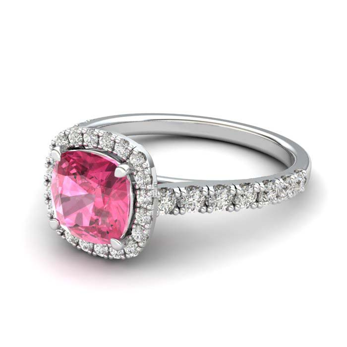 Sapphire Engagement Ring 6mm Cushion Cut Pink Sapphire in White Gold with White Cluster Stones_image2
