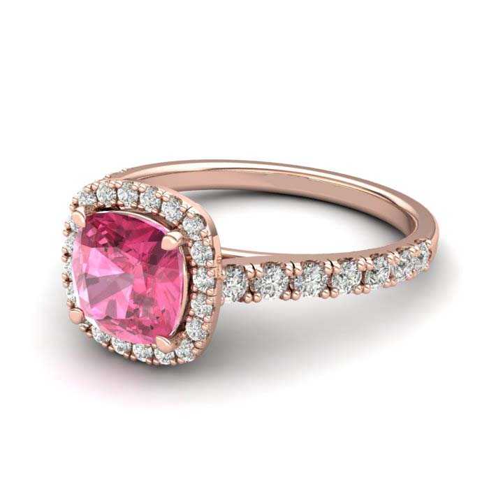 Sapphire Engagement Ring 6mm Cushion Cut Pink Sapphire in Rose Gold with White Cluster Stones_image1