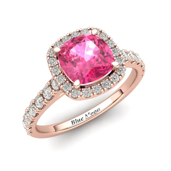 Sapphire Engagement Ring 6mm Cushion Cut Pink Sapphire in Rose Gold with White Cluster Stones_image2