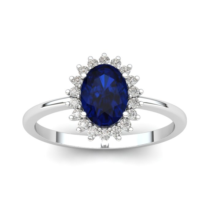 Princess Kate Blue Sapphire White Gold Ring_image1