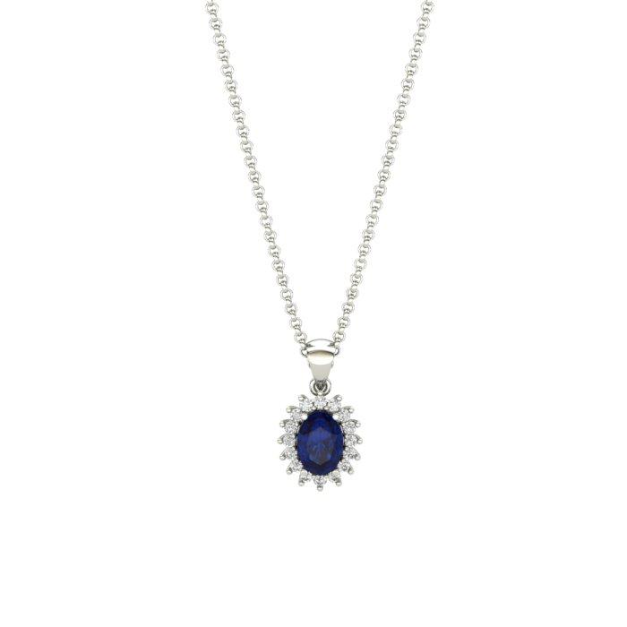 Princess Kate Blue Sapphire White Gold Necklace_image1