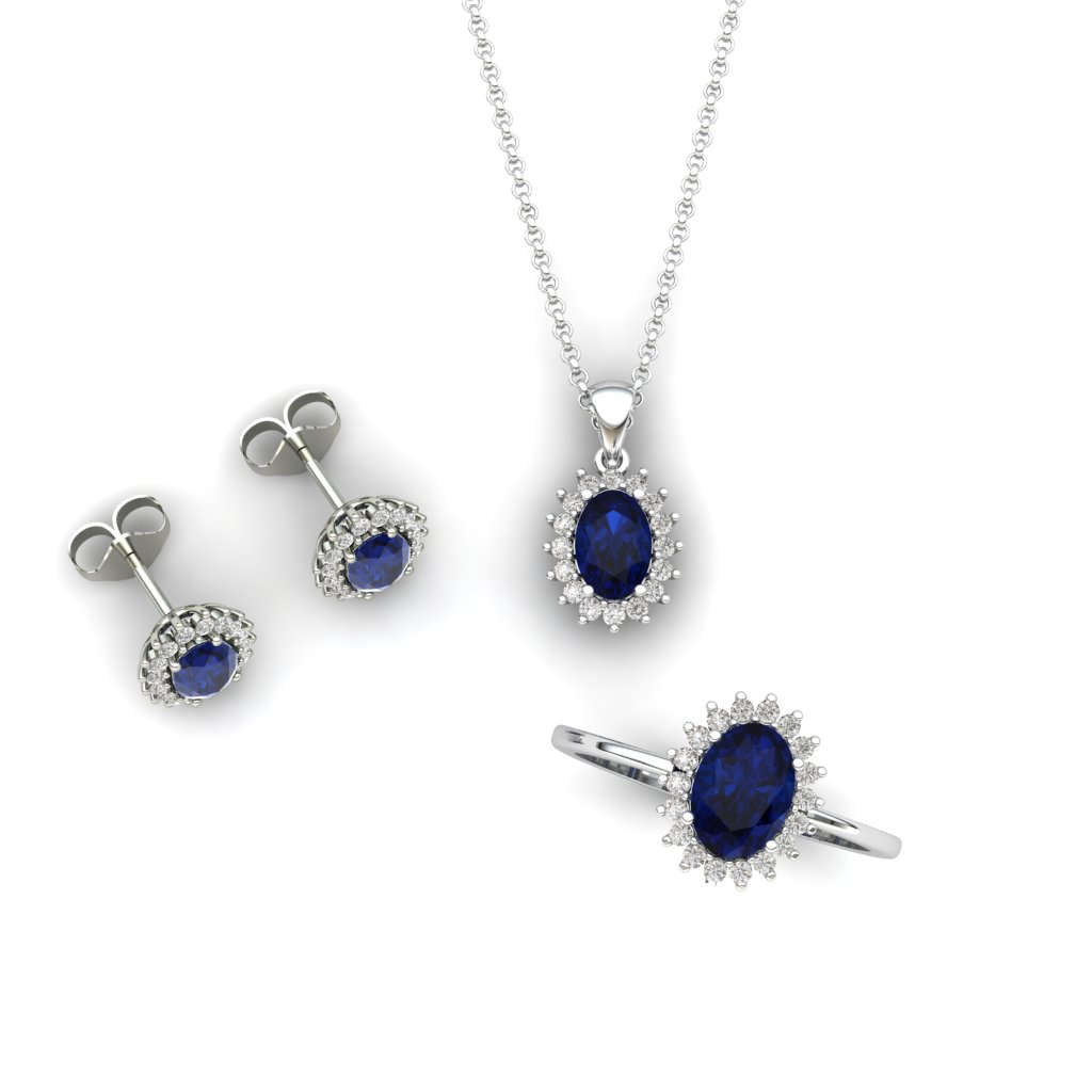 Princess Kate Blue Sapphire White Gold Half Set_image2