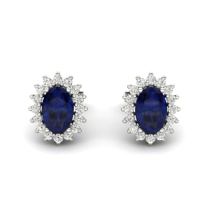 Princess Kate Blue Sapphire Silver Earrings_image1