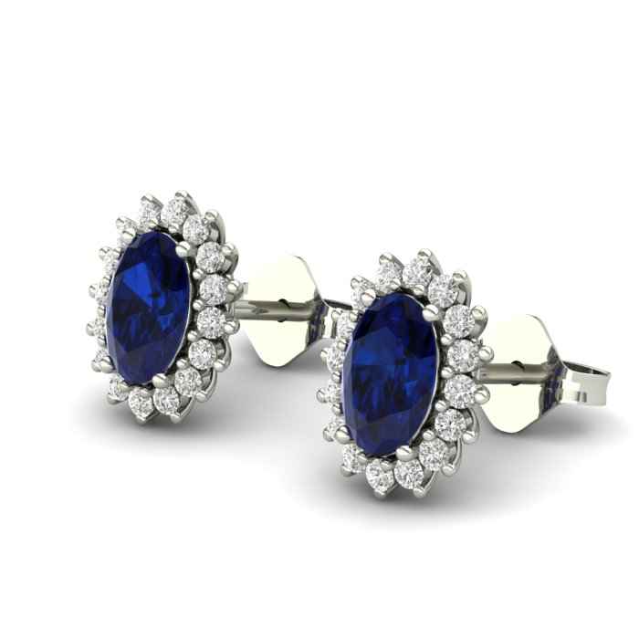Princess Kate Blue Sapphire Silver Earrings_image2