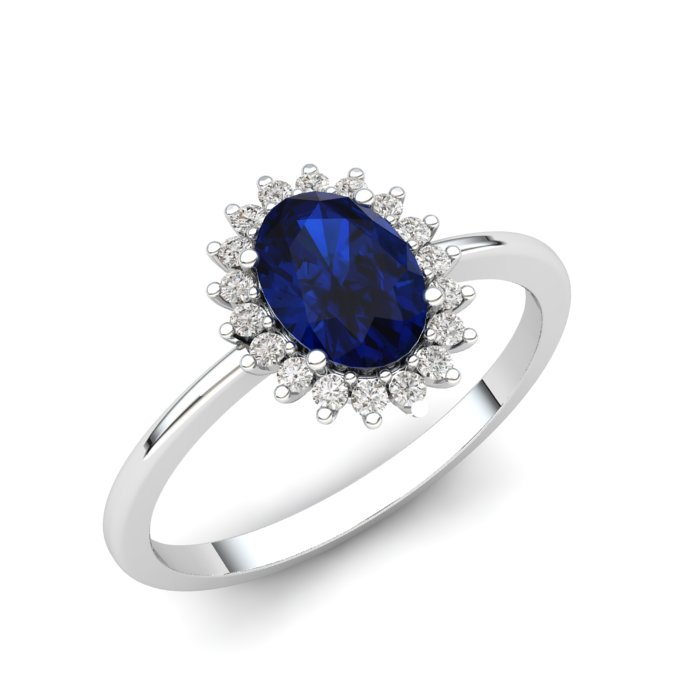 Princess Kate Blue Sapphire Silver Ring_image1