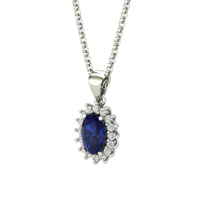 Princess Kate Blue Sapphire Sterling Silver Necklace_image1