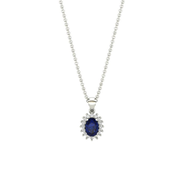 Princess Kate Blue Sapphire Sterling Silver Necklace_image2