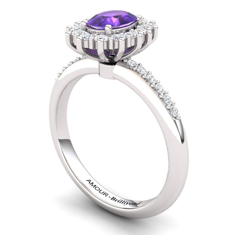 Amethyst Elite The Royal Heritance White Gold Engagement Ring_image1