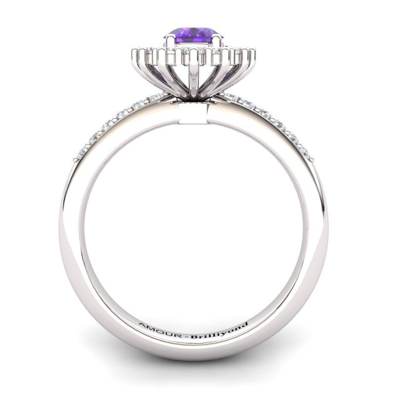 Amethyst Elite The Royal Heritance White Gold Engagement Ring_image2