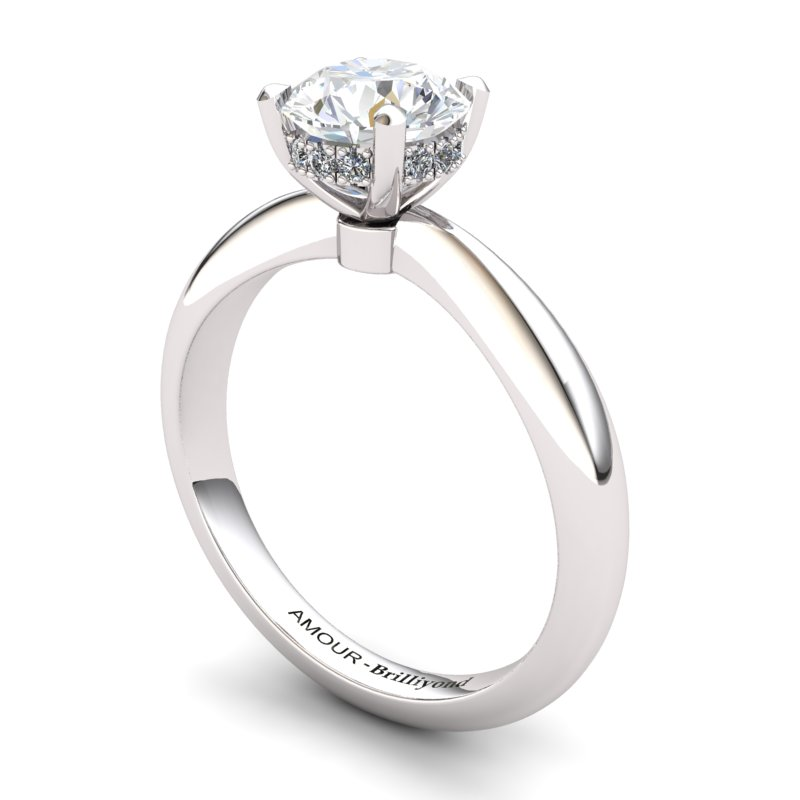 White Topaz Artisanal Floral Crown Solitaire White Gold Engagement Ring_image1