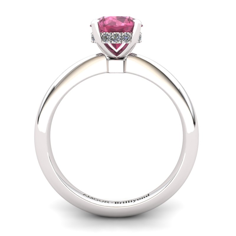 Garnet Artisanal Floral Crown Solitaire White Gold Engagement Ring