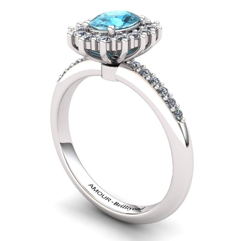 Blue Topaz Elite The Royal Heritance White Gold Engagement Ring_image1