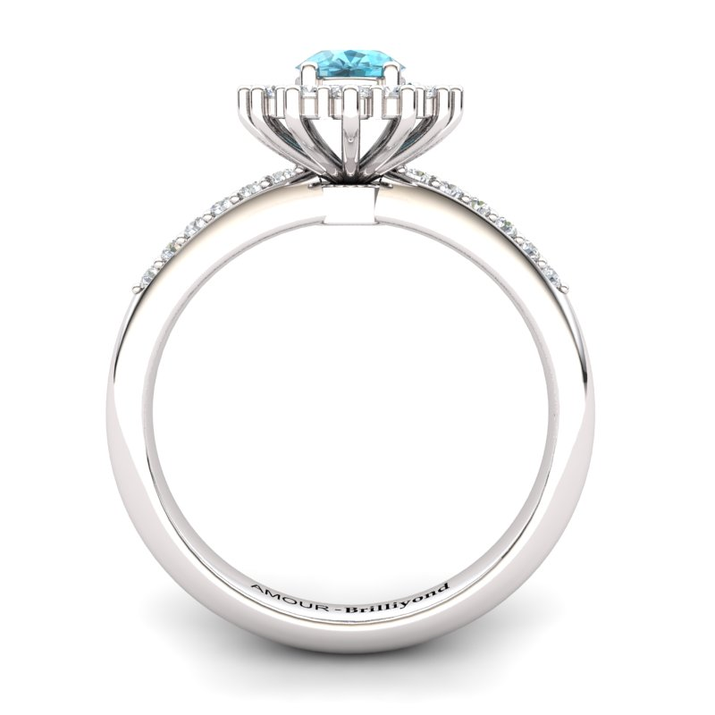 Blue Topaz Elite The Royal Heritance White Gold Engagement Ring_image2