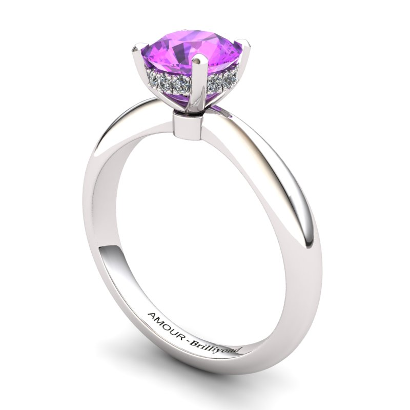 Amethyst Artisanal Floral Crown Solitaire White Gold Engagement Ring_image1