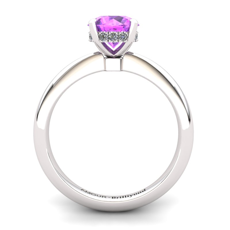 Amethyst Artisanal Floral Crown Solitaire White Gold Engagement Ring_image2