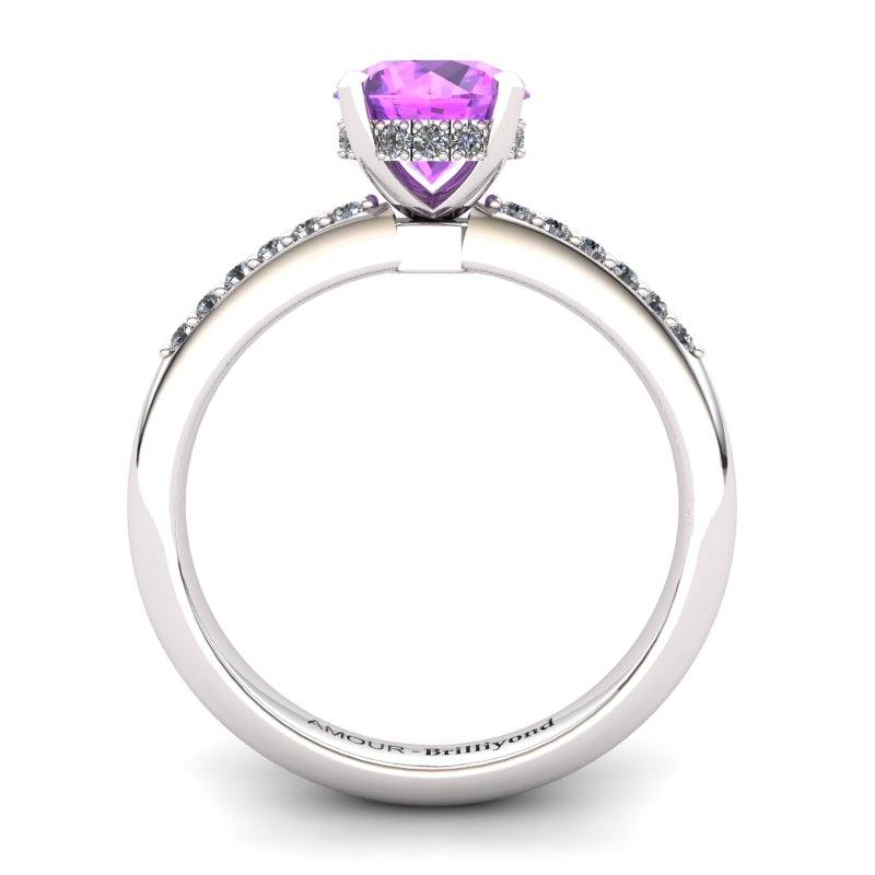 Amethyst Elite Floral Crown Solitaire White Gold Engagement Ring_image1