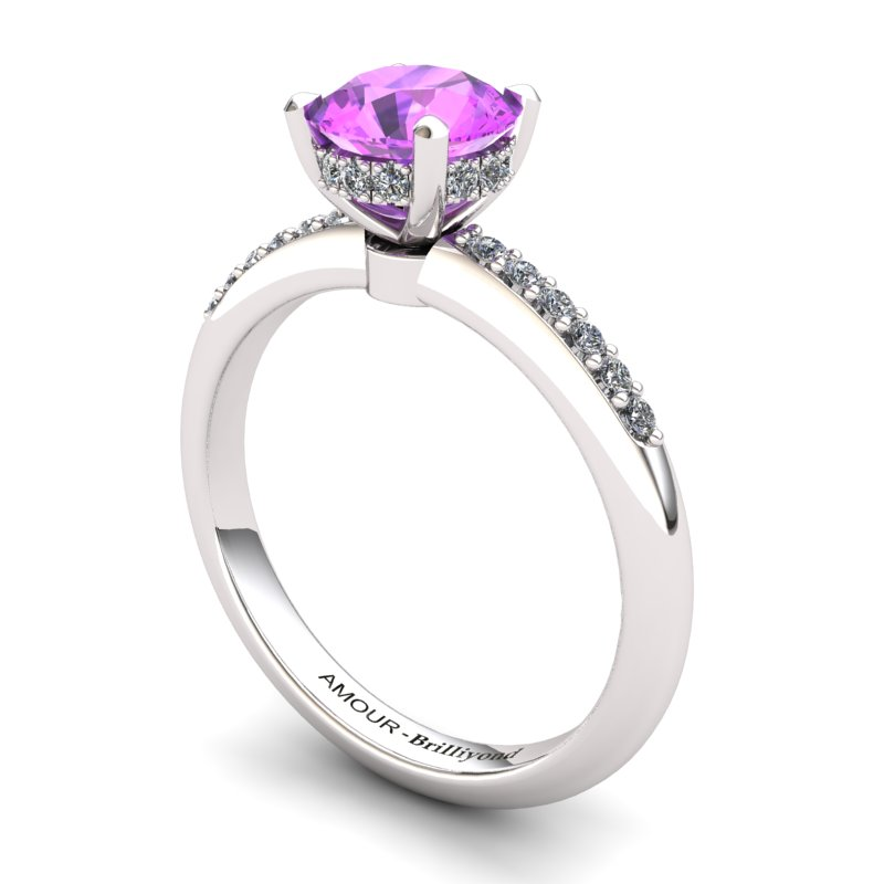 Amethyst Elite Floral Crown Solitaire White Gold Engagement Ring_image2
