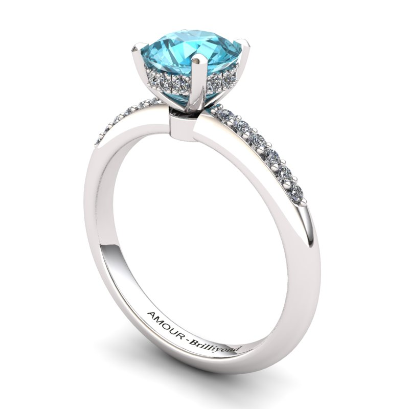 Blue Topaz Elite Floral Crown Solitaire White Gold Engagement Ring_image1