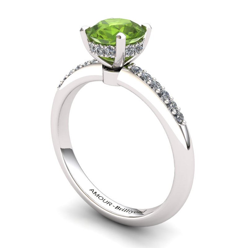 Peridot Elite Floral Crown Solitaire White Gold Engagement Ring_image1