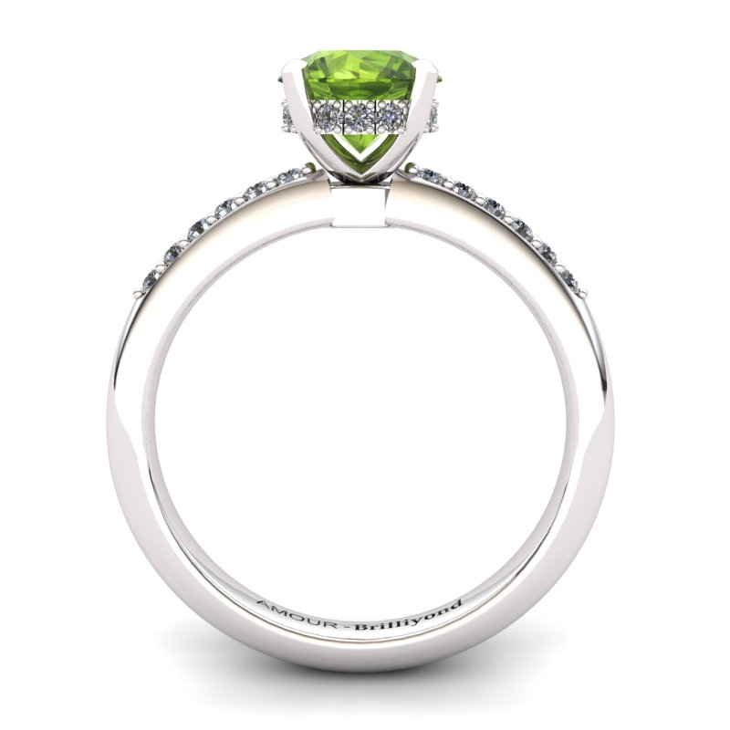 Peridot Elite Floral Crown Solitaire White Gold Engagement Ring_image2