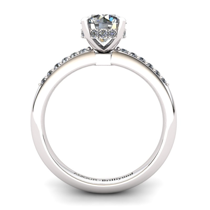 White Topaz Elite Floral Crown Solitaire White Gold Engagement Ring