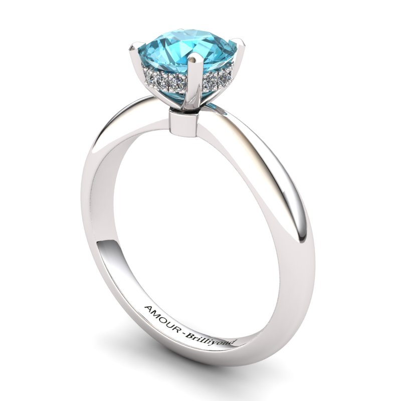 Blue Topaz Artisanal Floral Crown Solitaire White Gold Engagement Ring_image1