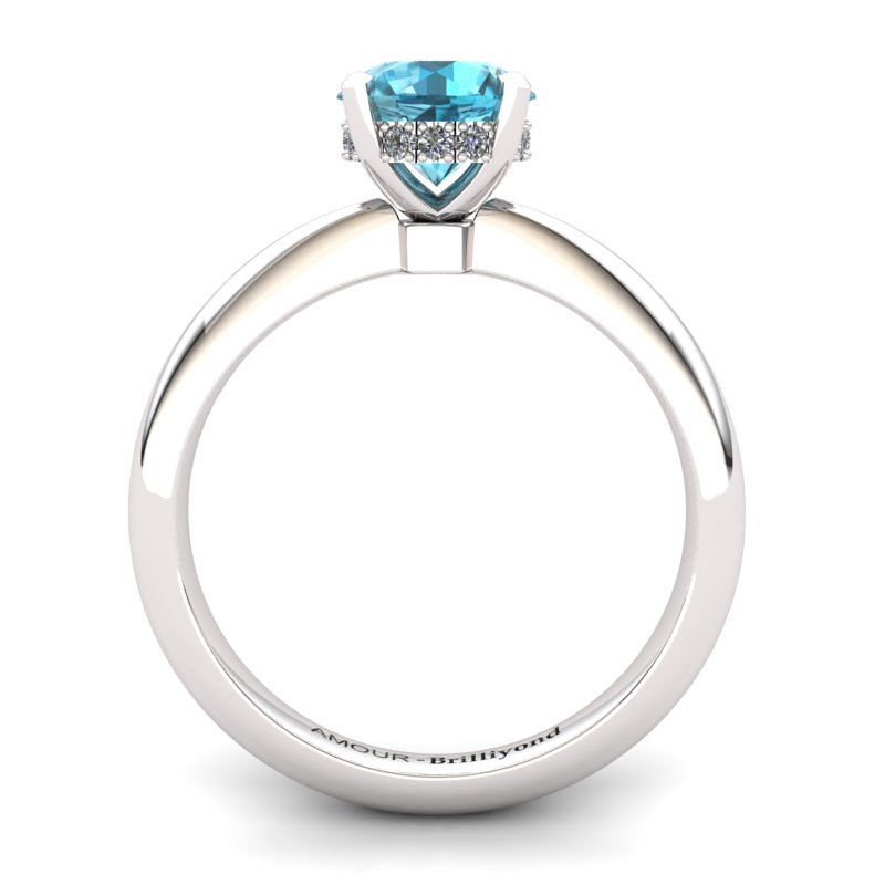 Blue Topaz Artisanal Floral Crown Solitaire White Gold Engagement Ring_image2