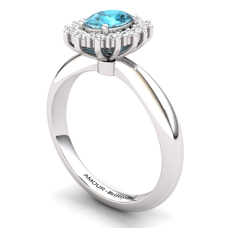 Blue Topaz Artisanal The Royal Heritance White Gold Engagement Ring_image1