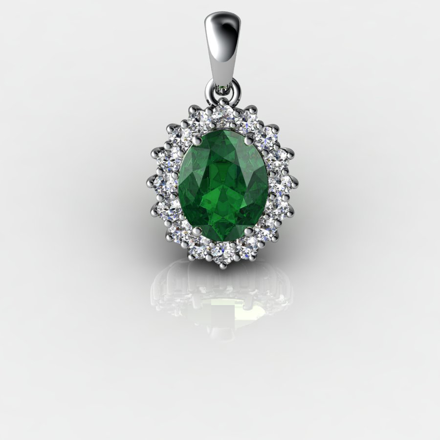 Genuine Natural Green Tourmaline Elliptic Cluster Pendant_image1