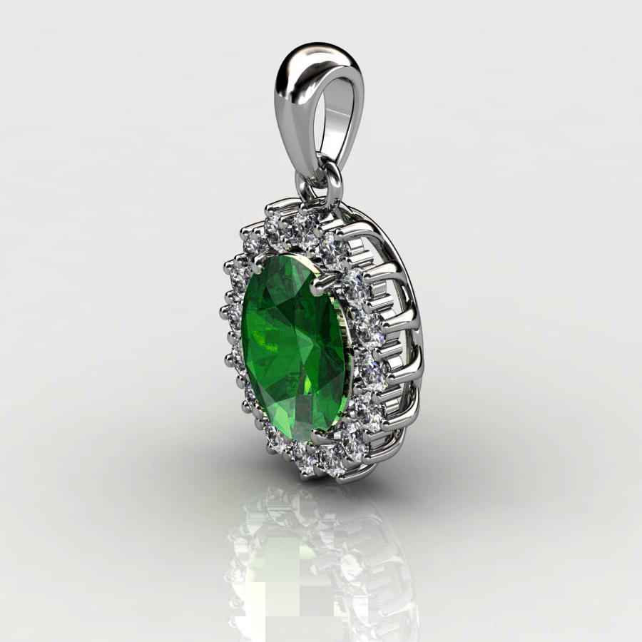 Genuine Natural Green Tourmaline Elliptic Cluster Pendant_image2