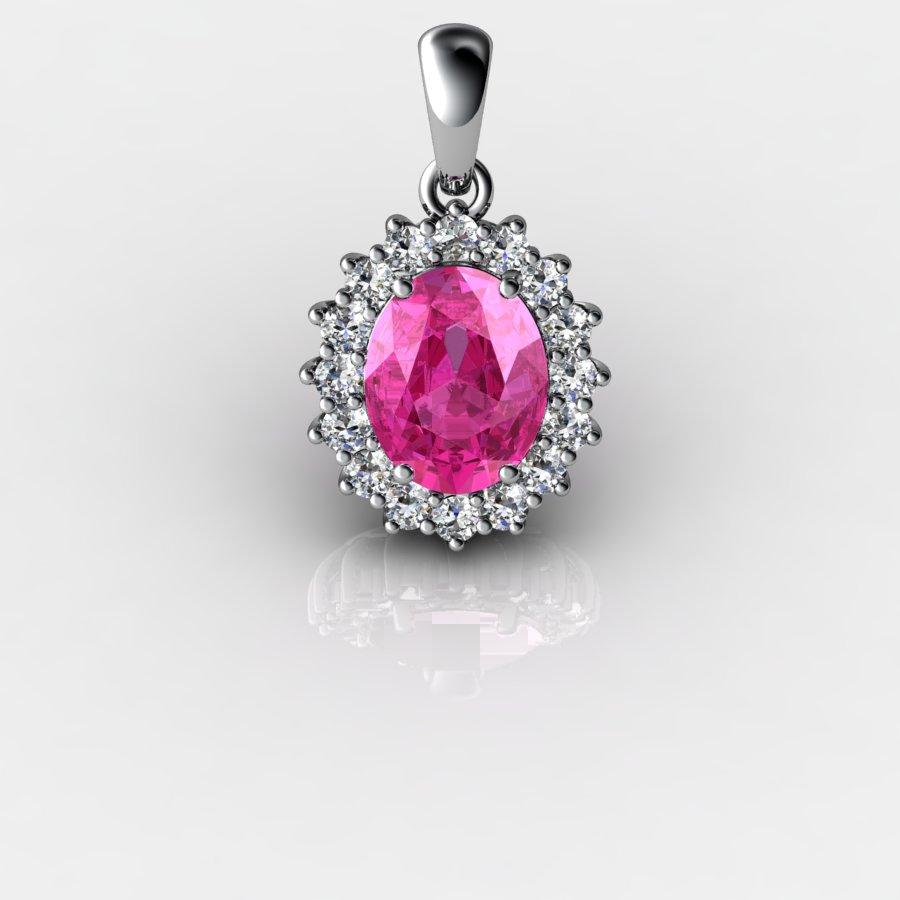 Genuine Natural Pink Sapphire Elliptic Cluster Pendant_image2